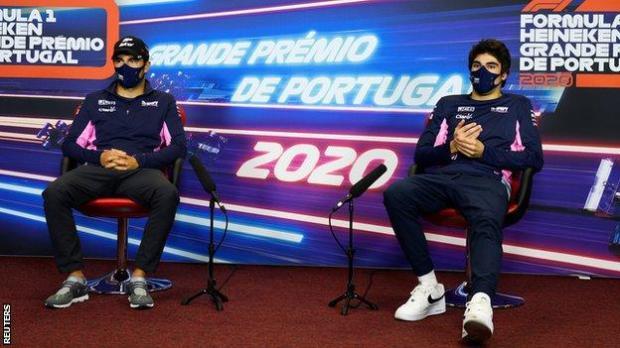 Sergio Perez and Lance Stroll during the Portuguese Grand Prix press conference