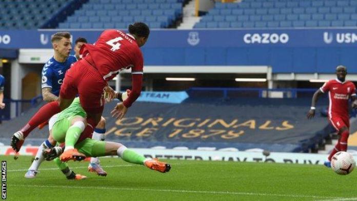 Virgil van Dijk was injured in a challenge by Jordan Pickford