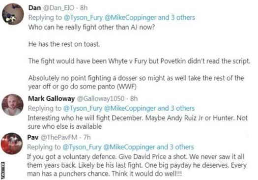 Fans on Twitter discuss Tyson Fury's next opponent. One fan says he could fight Andy Ruiz while another suggests David Price