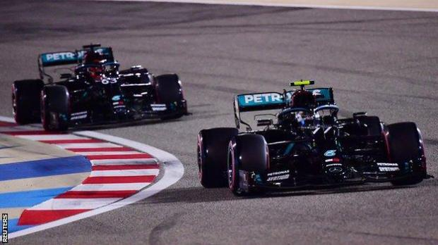 George Russell and Valterri Bottas in Mercedes
