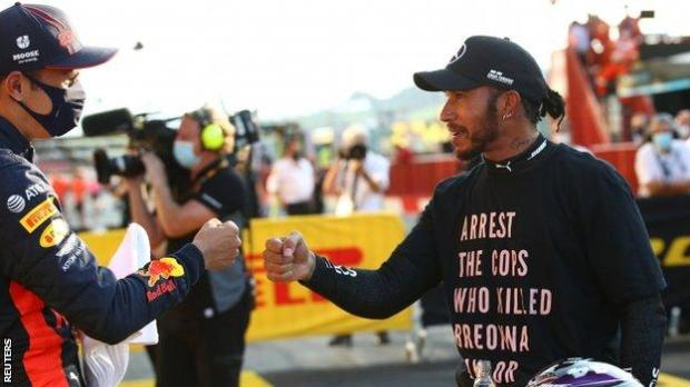 Lewis Hamilton after winning the Tuscan Grand Prix