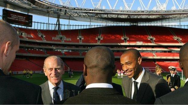 Prince Philip and Arsenal players including Thierry Henry at the opening of the Emirates Stadium in 2006