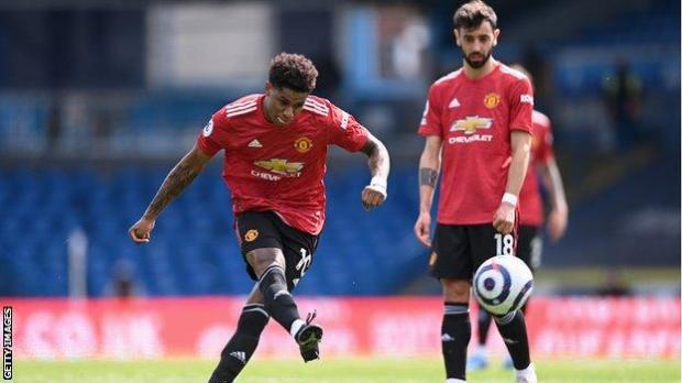 Marcus Rashford's first-half free-kick was well saved by Illan Meslier