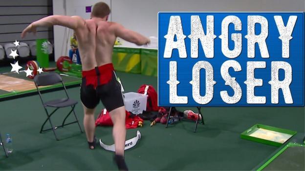 commonwealth games weightlifting silver medallist throws tantrum