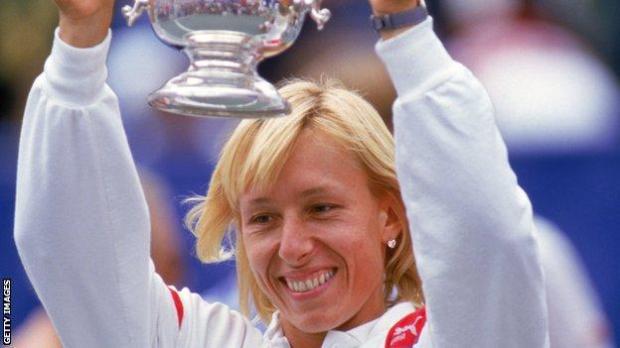 Martina Navratilova celebrates winning the 1986 US Open