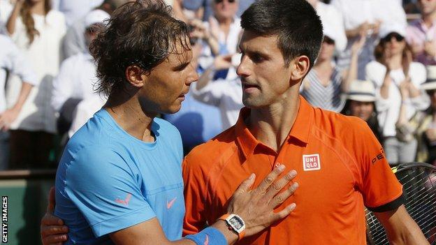 Rafael Nadal and Novak Djokovic after their 2015 French Opens quarter-final
