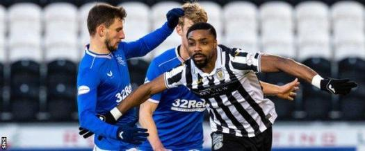 St Mirren's Jonathan Obika (right) in action against Rangers