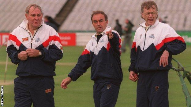 John Edrich (centre) was England batting coach when Ray Illingworth was in charge during the 1990s