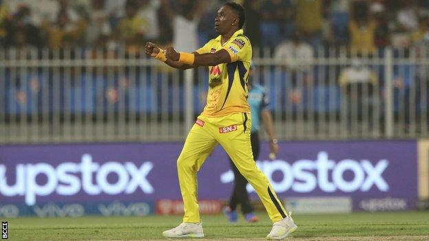 Chennai Super Kings' Dwayne Bravo celebrates wicket against Royal Challengers Bangalore