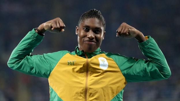 Caster Semenya celebrates a win with her trademark