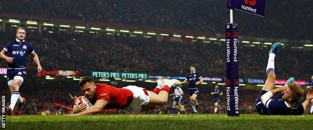 Gareth Davies crosses for Wales' first try in Saturday's win over Scotland