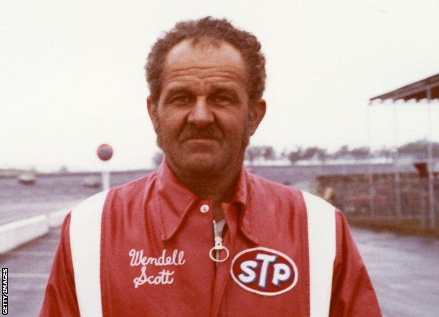 sport Wendell Scott HAMPTON, GA — 1973: Wendell Scott of Danville, VA, at Atlanta International Raceway during his final year of competition on the NASCAR Cup circuit. During his career, Scott started 495 Cup events, won once, and finished in the top 10 position 147 times. (Photo by ISC Images & Archives via Getty Images)