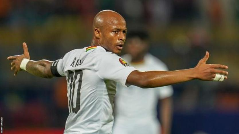 Swansea City's Andre Ayew in action for Ghana at the 2019 Africa Cup of Nations finals in Egypt