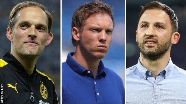 Former Borussia Dortmund boss Thomas Tuchel, Hoffenheim manager Julian Nagelsmann and Schalke head coach Domenico Tedesco