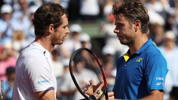 Andy Murray and Stan Wawrinka after their 2017 French Open final