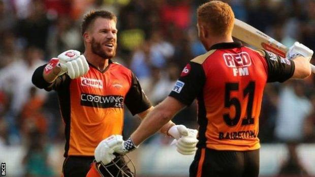 Australian international David Warner and England's Jonny Bairstow, playing for Sunrisers Hyderabad in the Indian Premier League