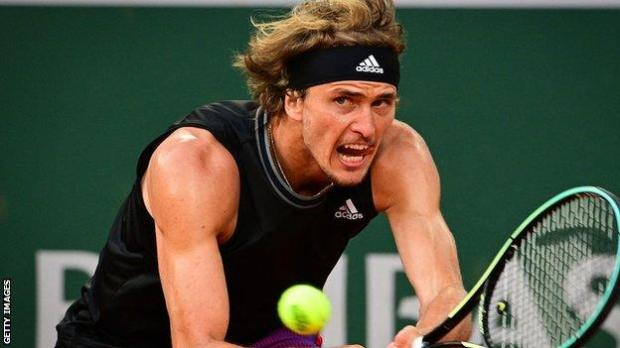 Alexander Zverev hits a return against Alejandro Davidovich Fokina in their French Open quarter-final