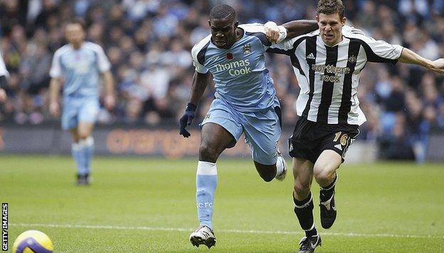 Micah Richards and James Miner battle for the ball in 2006 when Milner was on the wing for Newcastle