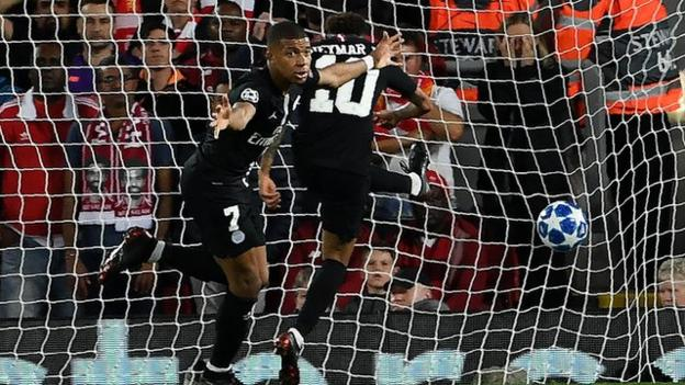 Kylian Mbappe celebrates scoring for Paris St-Germain against Liverpool
