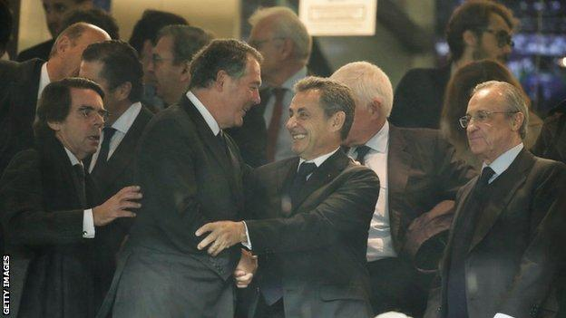 Florentino Perez with former Spanish president Jose Maria Aznar and Nicolas Sarkozy, the ex-president of France