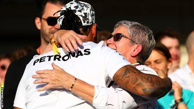 Lewis Hamilton and mother Carmen Larbalestier