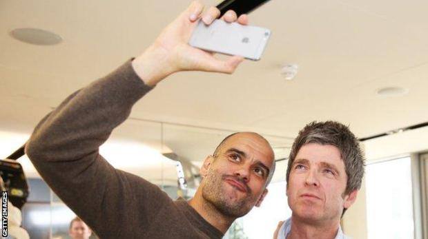 Man City boss Pep Guardiola and Noel Gallagher
