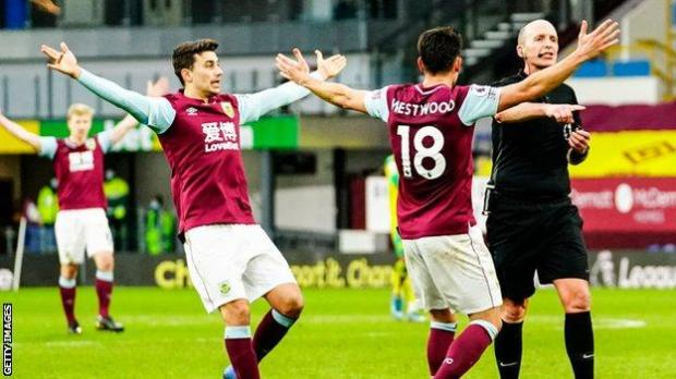 Burnley players appeal for a penalty