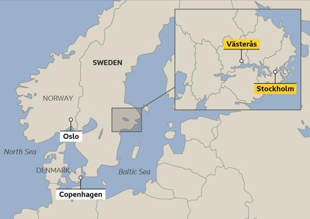 Map showing location of Vasteras