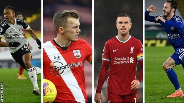 Bobby Decordova-Reid (Fulham), James Ward-Prowse (Southampton), Jordan Henderson (Liverpool), James Maddison (Leicester)