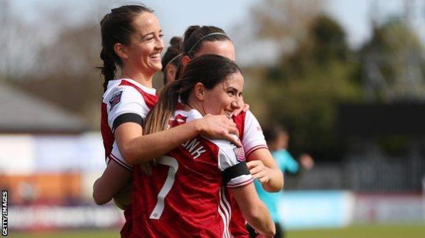 Arsenal Women celebrate a goal