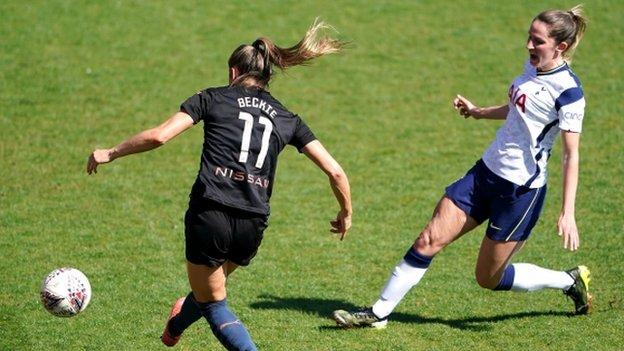Janine Beckie slotted City's second goal against Spurs at The Hive before then setting up the third