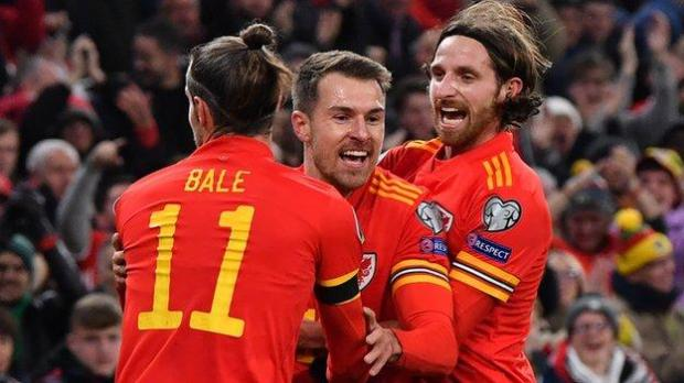 Joe Allen (R) and Aaron Ramsey, along with Gareth Bale, were instrumental in Wales 2016 Euro success and qualification for Euro 2020