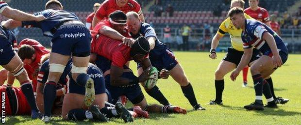 Maro Itoje scores against Doncaster