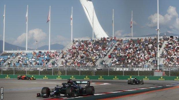Fans watch the Russian Grand Prix
