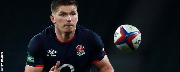 Owen Farrell catches the ball
