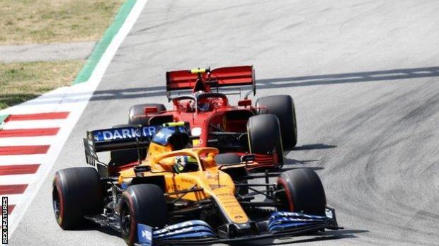 McLaren driver Lando Norris (left)