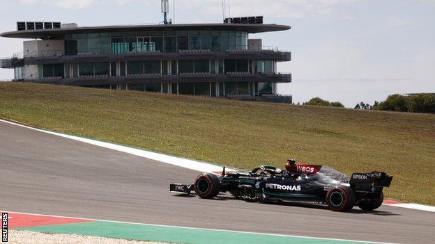 Lewis Hamilton on track