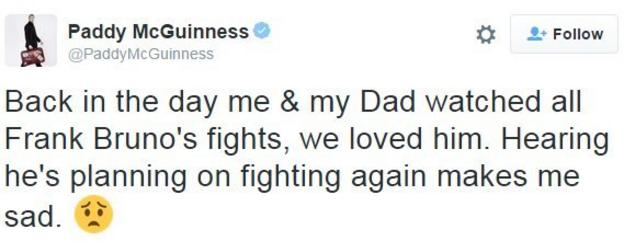 Comedian Paddy McGuinness tweeted about Bruno's interview