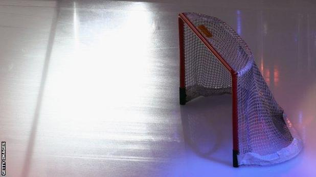 An empty ice hockey rink