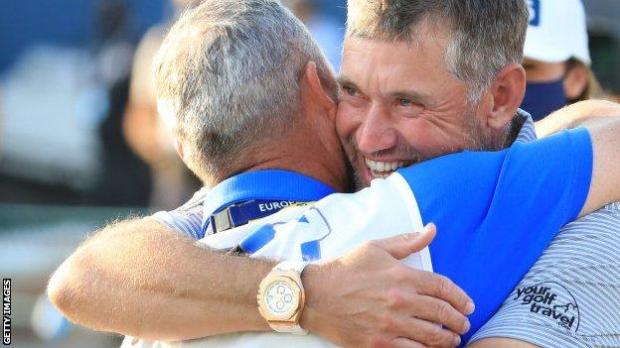 Lee Westwood with former caddie Billy Foster