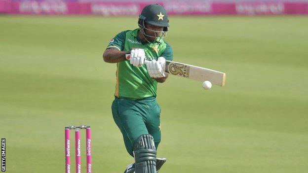 Pakistan opener Fakhar Zaman plays a pull shot in the second one-day international against South Africa