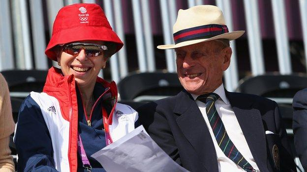 Prince Philip and Princess Anne attend the Equestrian events at London 2012