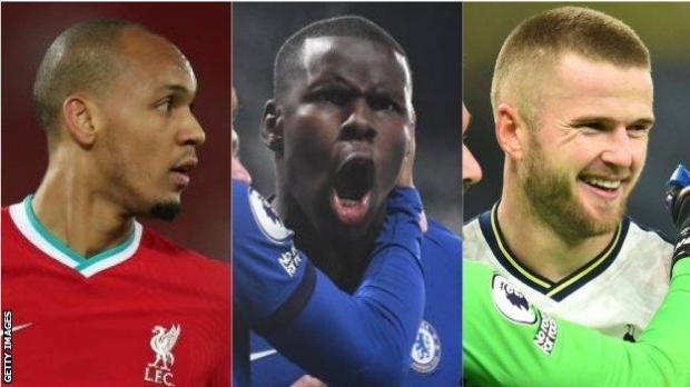 Fabinho (Liverpool), Kurt Zouma (Chelsea), Eric Dier (Tottenham)