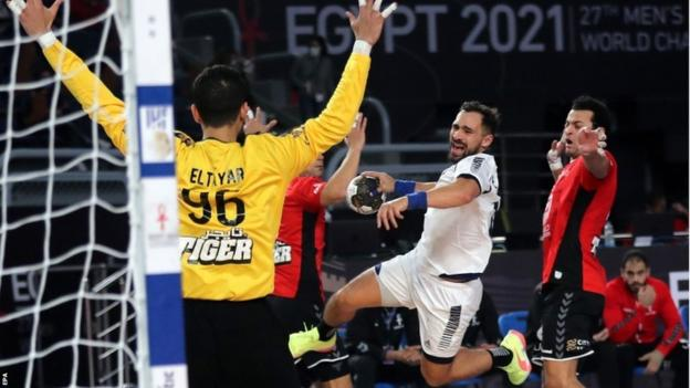 Action from the opening match at the 2021 Men's World Handball Championships