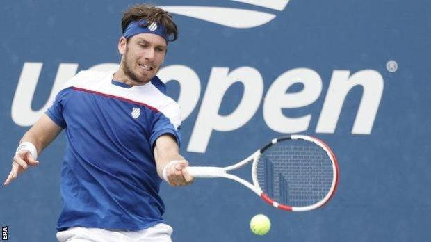 Cameron Norrie hits a return against Diego Schwartzman at the US Open