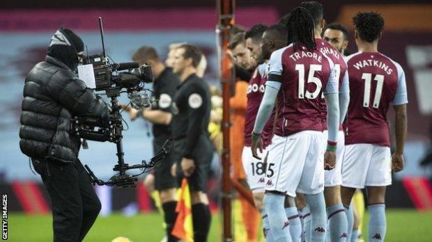Aston Villa players line up