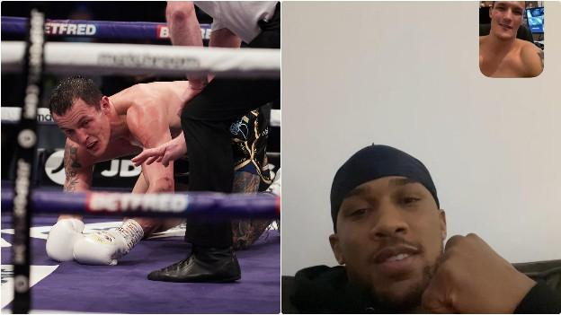 Warrington on the canvas and Anthony Joshua on zoom call