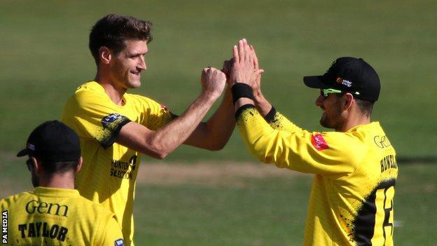 Gloucestershire celebrate a wicket