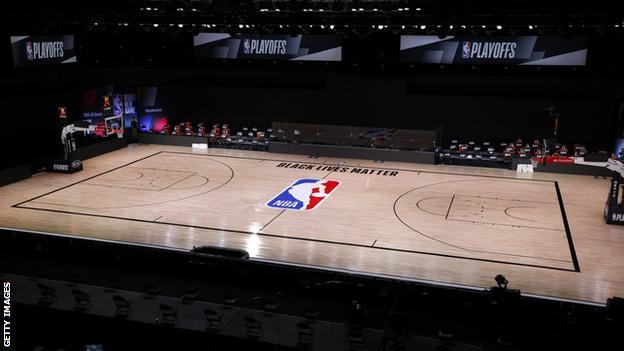 An empty NBA court following a boycott
