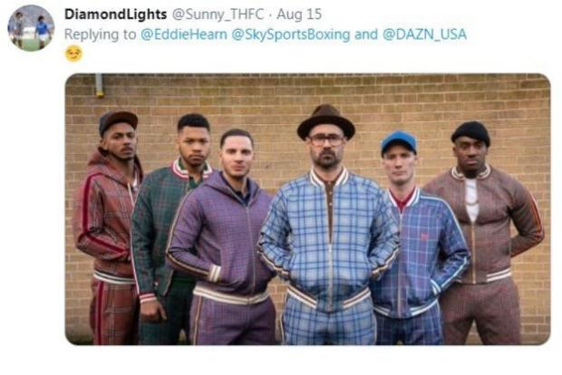 A fan on Twitter shares a picture of the cast of 'The Gentleman', suggesting the characters are dressed like Team Povetkin